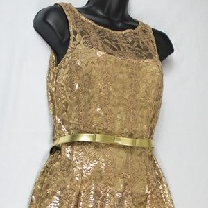 Leslie Fay Gold Lace Dress